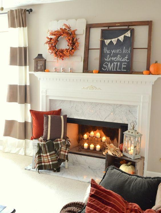 faux leaf wreath, chalkboard, a part of pallet board, pumpkins