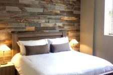 08 faux pallet wall is made from thin pieces of actual wood