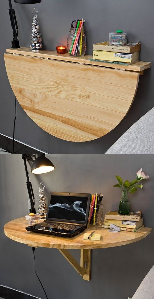 foldable wall-mounted desk by the bed