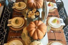 08 large and tiny pumpkins as a table runner, woven chargers and pear as favors