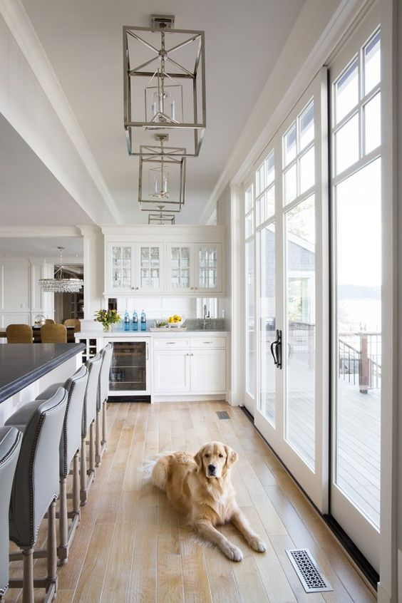 light wood floors give this kitchen a warm feeling
