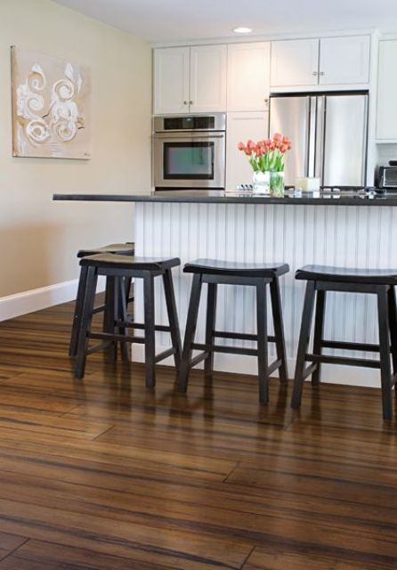 strand woven bamboo floors create an eye-catchy look