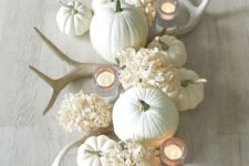 all-white fall centerpiece