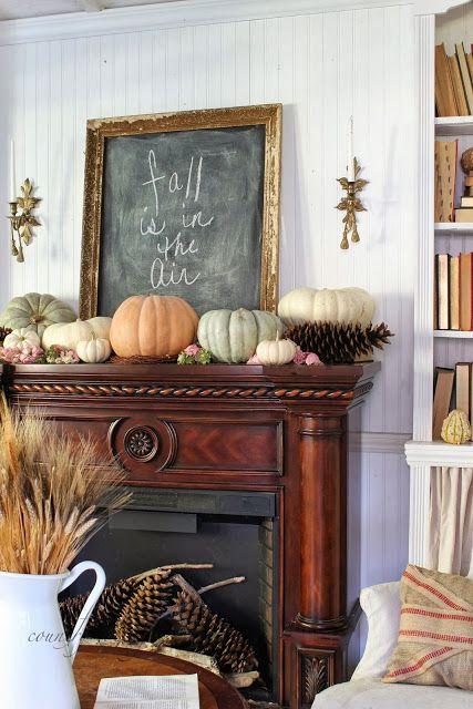 big pumpkins, chalkboard in a gilded frame