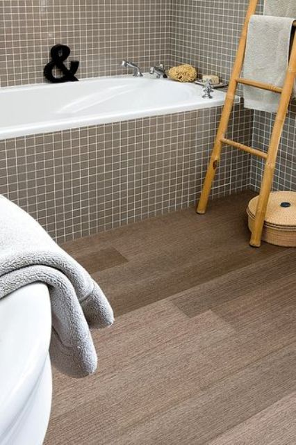 cork floors in wood slate shapes for a bathroom