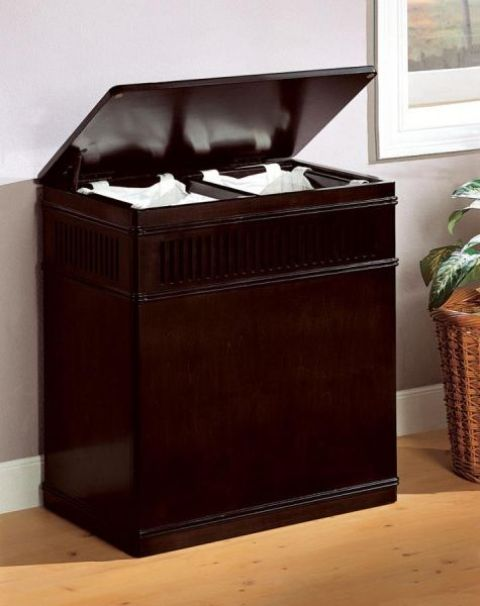 dark wood laundry hamper with a cover