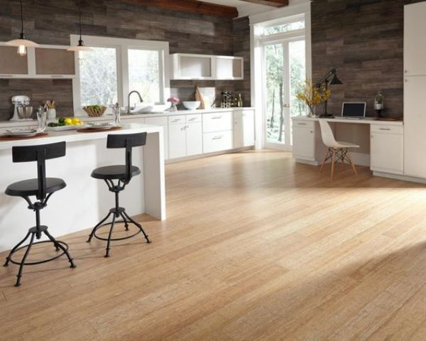 light-colored kitchen floors to contrast with weathered wood walls