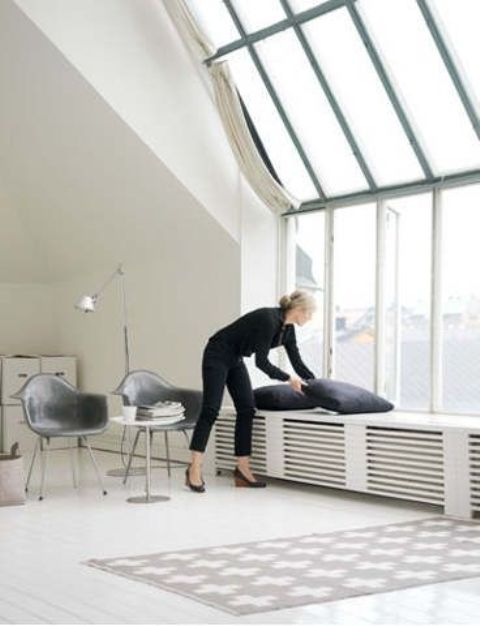 modern minimalist cover as a window bench