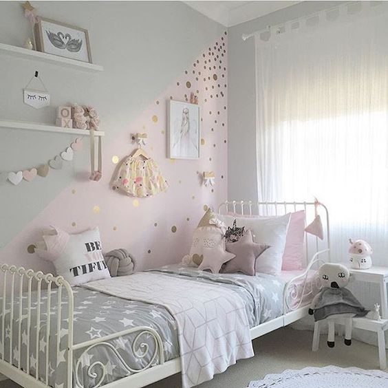 pastel girl 39 s sleeping nook with toys and various wall decor
