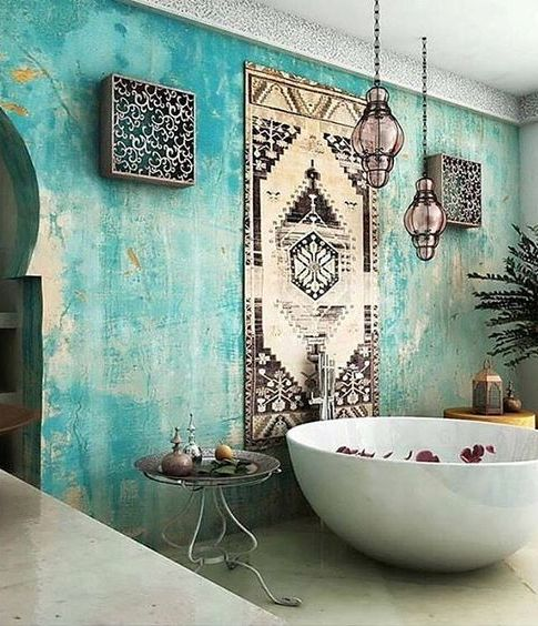 Picture of turquoise boho luxe moroccan bathroom for Arabic interiors decoration
