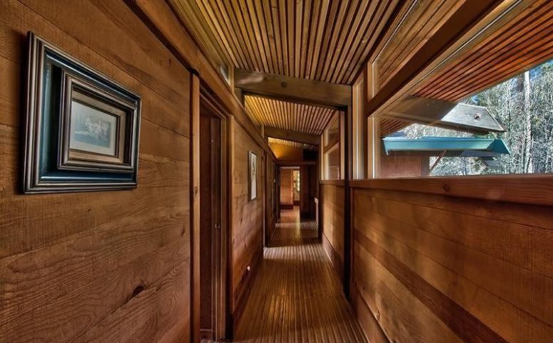 Even the corridors are clad with natural wood and there are cool views