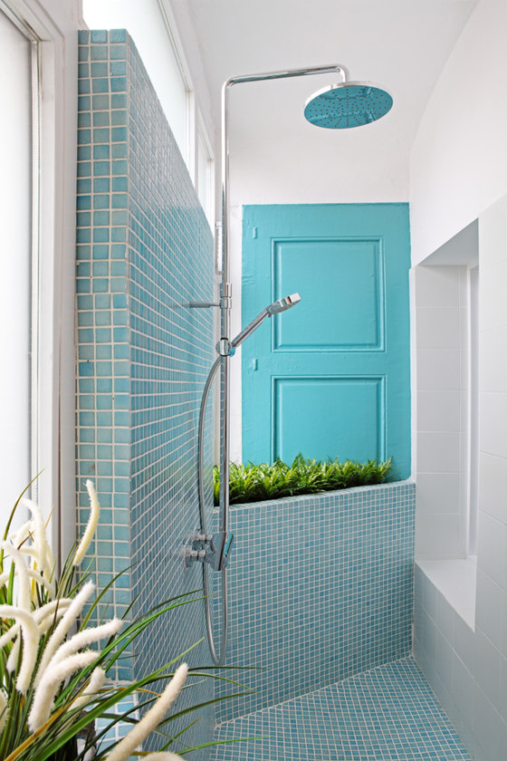 Greenery in the shower creates an impression of having a spa experience