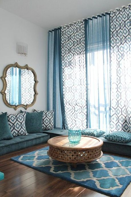 living room in blue shades