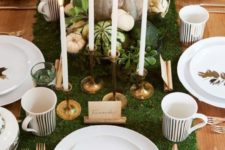 10 moss table runner, pumpkins, gilded candle holders and leaves
