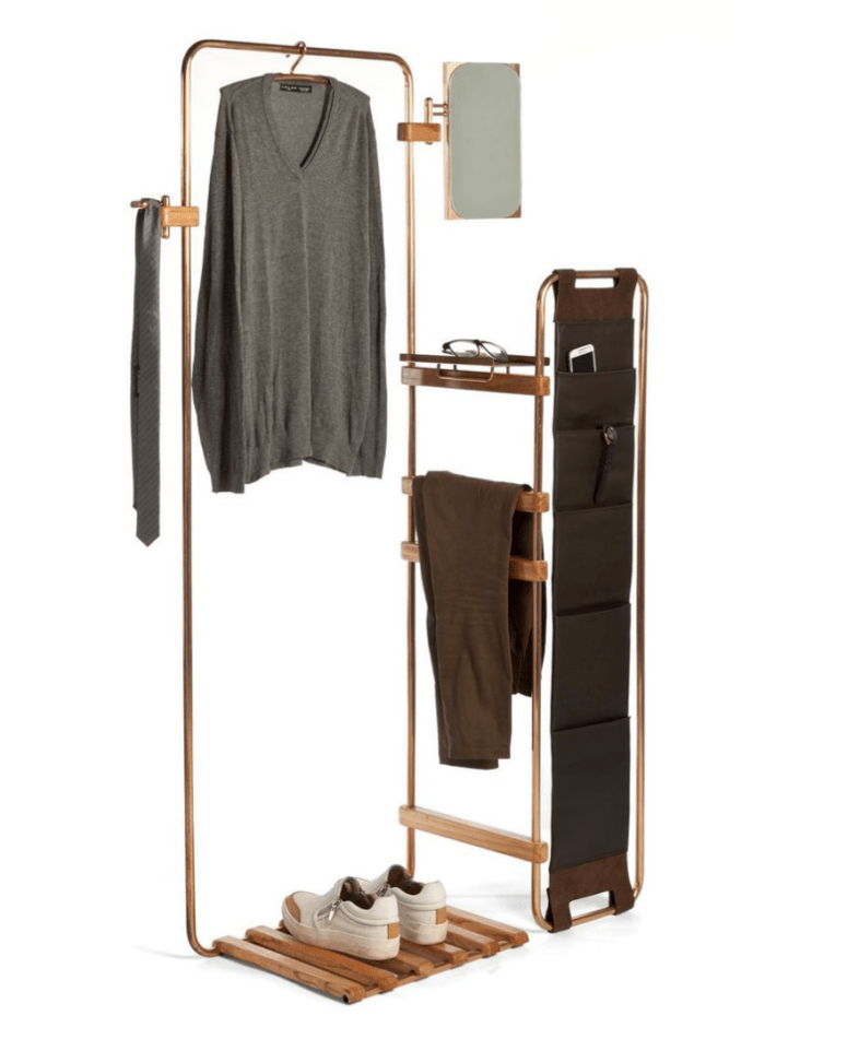 wood and metal rack that provides numerous storage options for various things