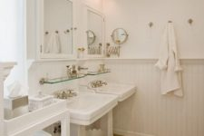 11 traditional white bathroom is highlighted with warm cork floors