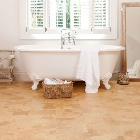 Amber Cork Flooring To Make The Bathroom Cozier