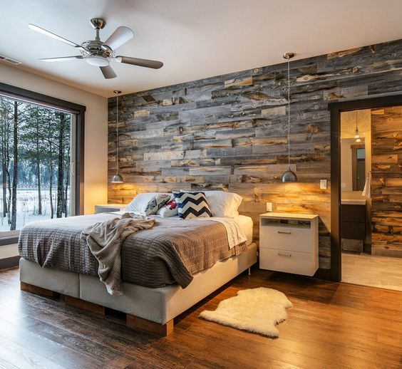 Reclaimed Weathered Wood Wall Behind The Reclaimed Wood Wall Paneling Makes  The Room Comfier
