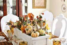 12 wooden box centerpiece, antlers, pumpkins, fall leaves and plaid blankets