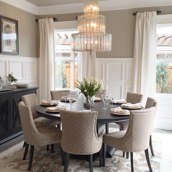 Picture of elegant dining room with grey walls and white wainscoting to make it more refined - Round dining table small space model ...