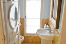 13 small bathroom and laundry combo covered with cork