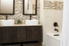 13 travertine floors become an accent in this bathroom