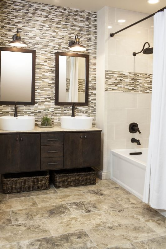 travertine floors become an accent in this bathroom