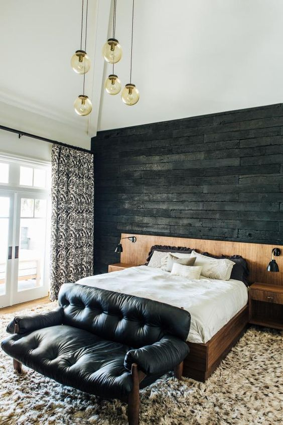 unique charred wall for a master bedroom