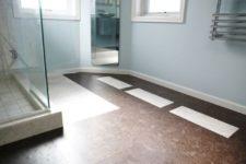 14 dark cork floors for a contrast with a light bathroom