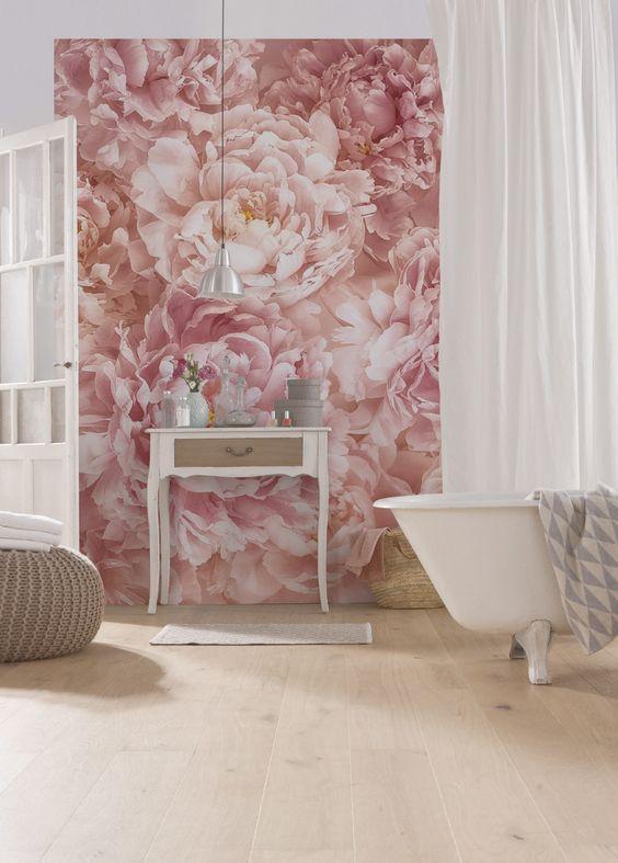 pink peonies create a wonderful ambience in this feminine bathroom space