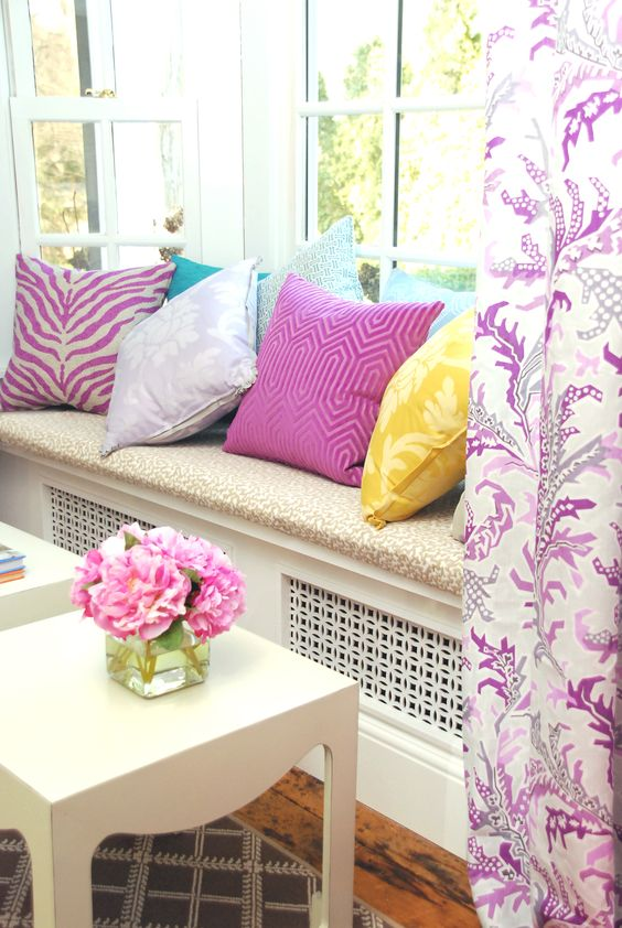 radiator cover window seat with pillows