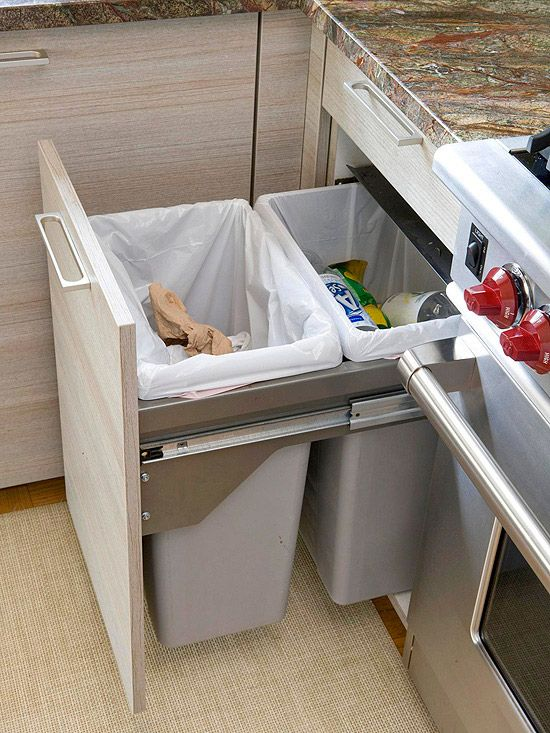 pull-out double trash cans in the kitchen island