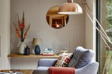 15 reading nook highlighted with geometric wallpaper