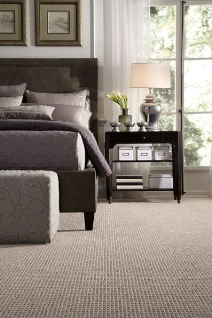 textural carpet floors like these ones are easier to clean