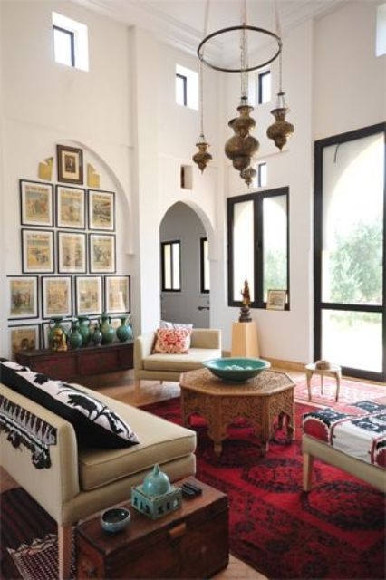 touches of bold red and green to bring a Moroccan feel