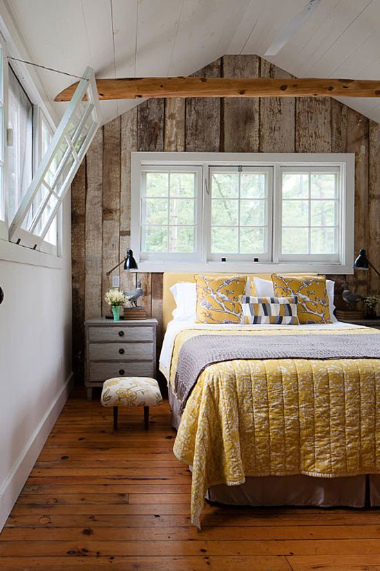 wood paneling that echoes with floors and beams