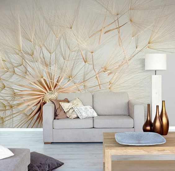 dandelion photo mural to add personality to the room