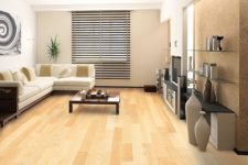 16 modern liivng eoom in light shades is highlighted with light bamboo floors