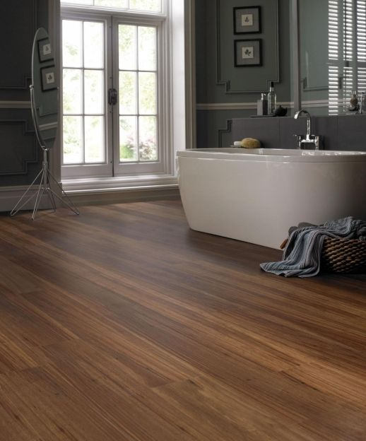 29 vinyl flooring ideas with pros and cons digsdigs for Wood floor bathroom