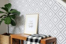17 dotted geometric wallpaper to highlight the staircase wall