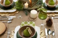 17 green glass, sage green napkins and dark green chargers with burlap accents