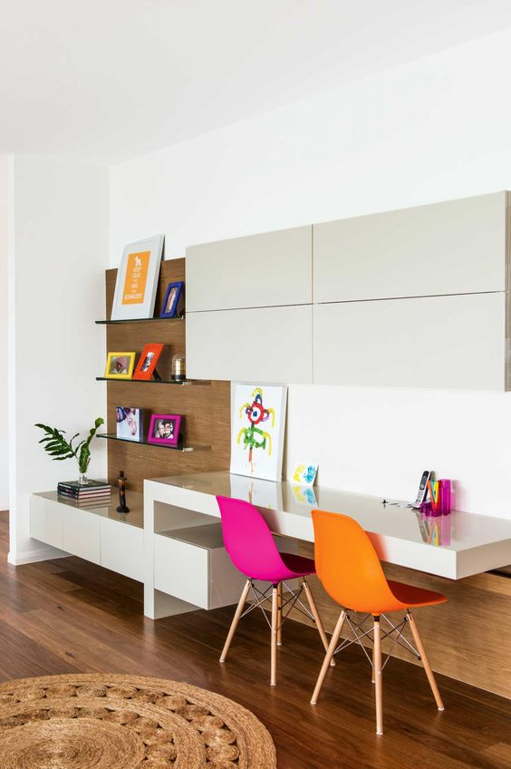 minimalist study space with colorful touches