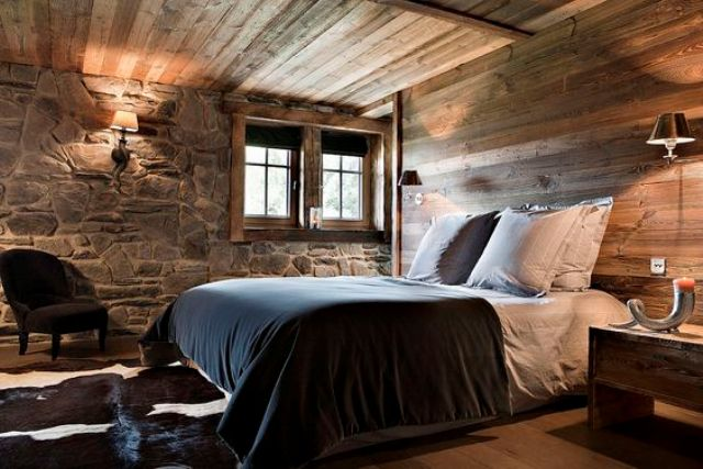 stone and wood are traditional for cabin interiors