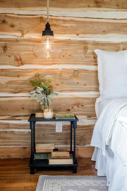 warm textural wood for a rustic bedroom