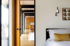 18 cork floors highlight the mid-century modern decor of this bedroom