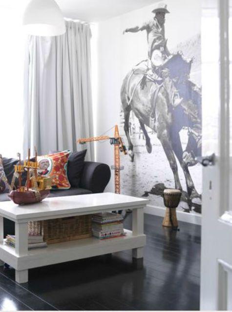 cowboy wall mural for a farmhouse living room