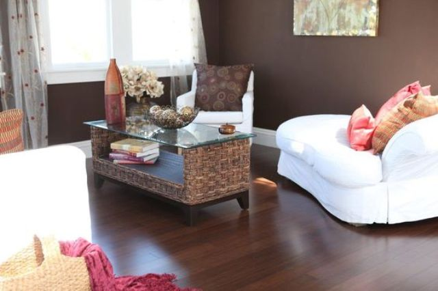 dark bamboo floors look great with ratta or woven furniture