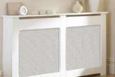18 super narrow white radiator cover and shelf in one