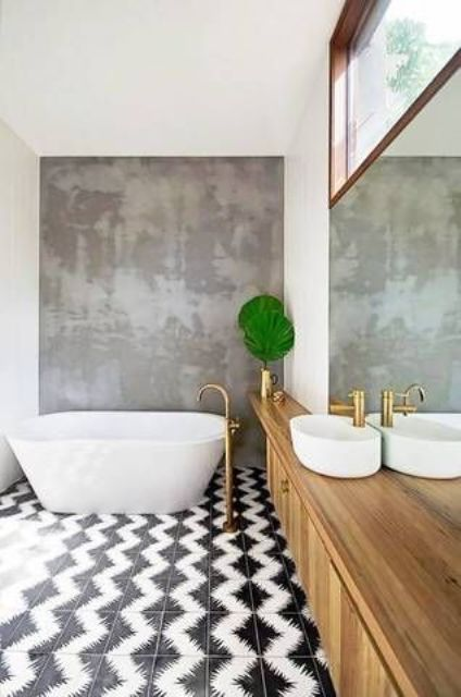bold black and white patterned tile to make a statement