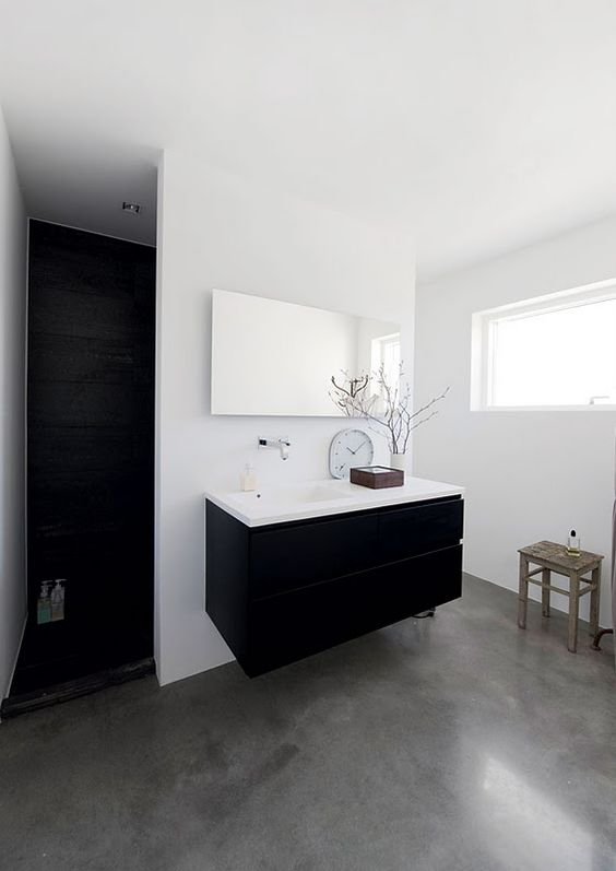 grey concrete for a monochromatic bathroom